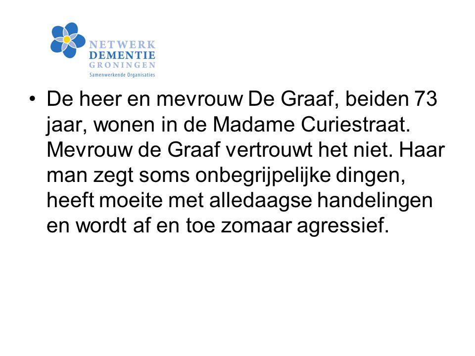 De heer en mevrouw De Graaf, beiden 73 jaar, wonen in de Madame Curiestraat.