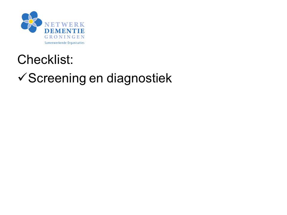 Checklist: Screening en diagnostiek