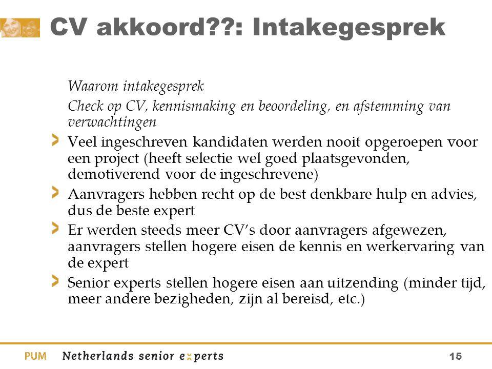 15 CV akkoord??: Intakegesprek Waarom intakegesprek Check op CV, kennismaking en beoordeling, en afstemming van verwachtingen Veel ingeschreven kandid