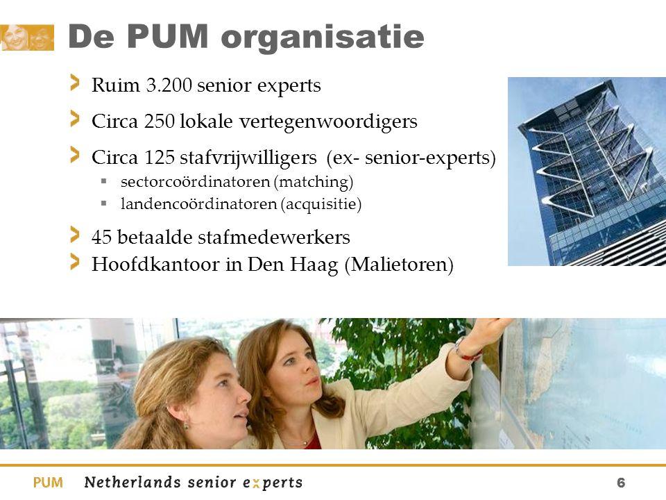 6 De PUM organisatie Ruim 3.200 senior experts Circa 250 lokale vertegenwoordigers Circa 125 stafvrijwilligers (ex- senior-experts)  sectorcoördinato