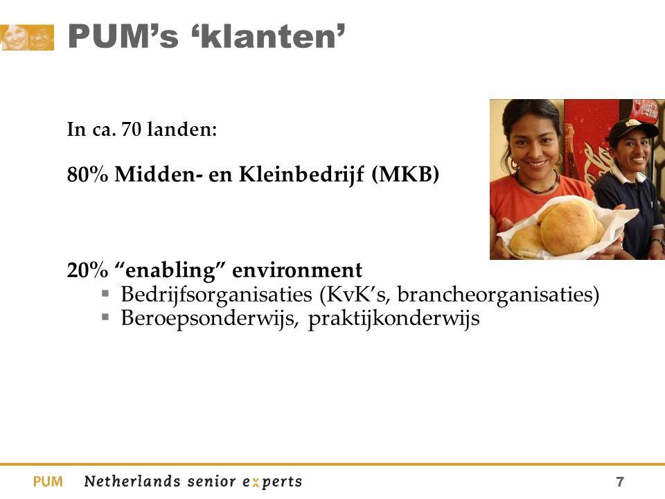 """7 PUM's 'klanten' In ca. 70 landen: 80% Midden- en Kleinbedrijf (MKB) 20% """"enabling"""" environment  Bedrijfsorganisaties (KvK's, brancheorganisaties) """