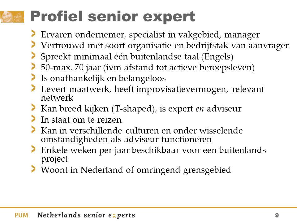 9 Profiel senior expert Ervaren ondernemer, specialist in vakgebied, manager Vertrouwd met soort organisatie en bedrijfstak van aanvrager Spreekt mini