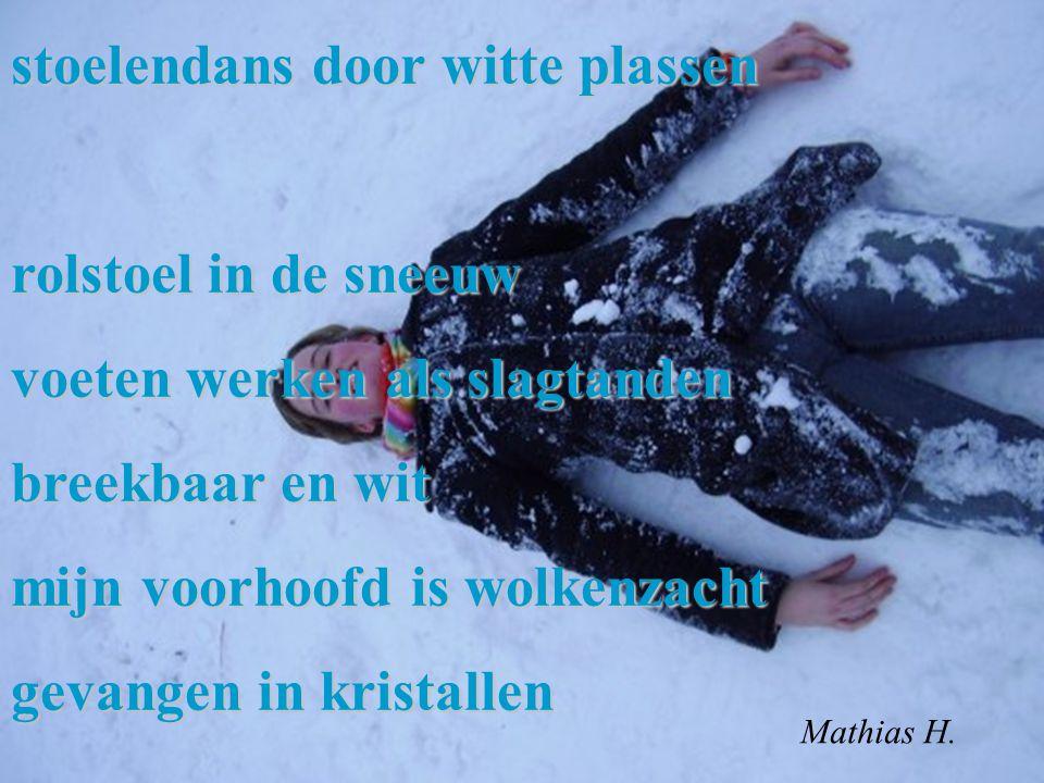 stoelendans door witte plassen rolstoel in de sneeuw voeten werken als slagtanden breekbaar en wit mijn voorhoofd is wolkenzacht gevangen in kristalle