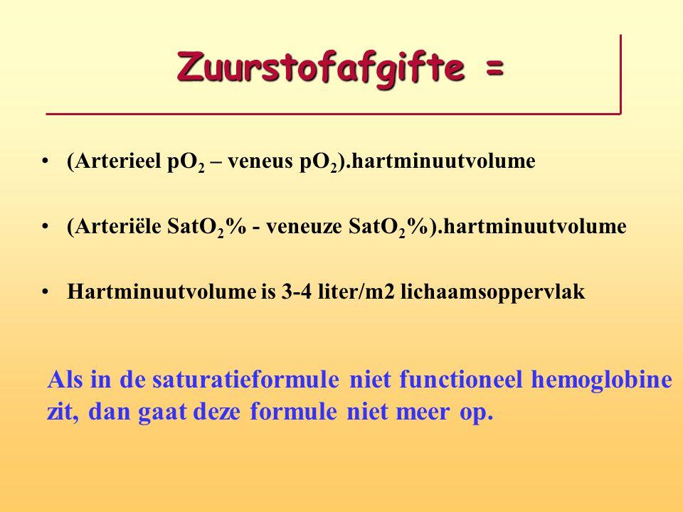 Zuurstofafgifte = (Arterieel pO 2 – veneus pO 2 ).hartminuutvolume (Arteriële SatO 2 % - veneuze SatO 2 %).hartminuutvolume Hartminuutvolume is 3-4 liter/m2 lichaamsoppervlak Als in de saturatieformule niet functioneel hemoglobine zit, dan gaat deze formule niet meer op.