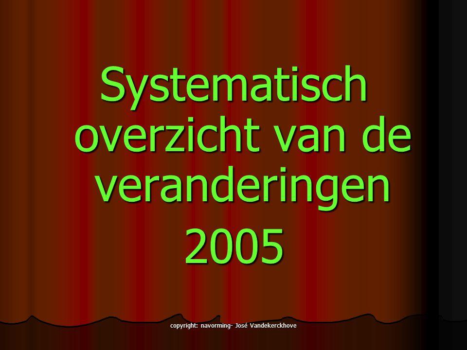 copyright: navorming- José Vandekerckhove Systematisch overzicht van de veranderingen 2005
