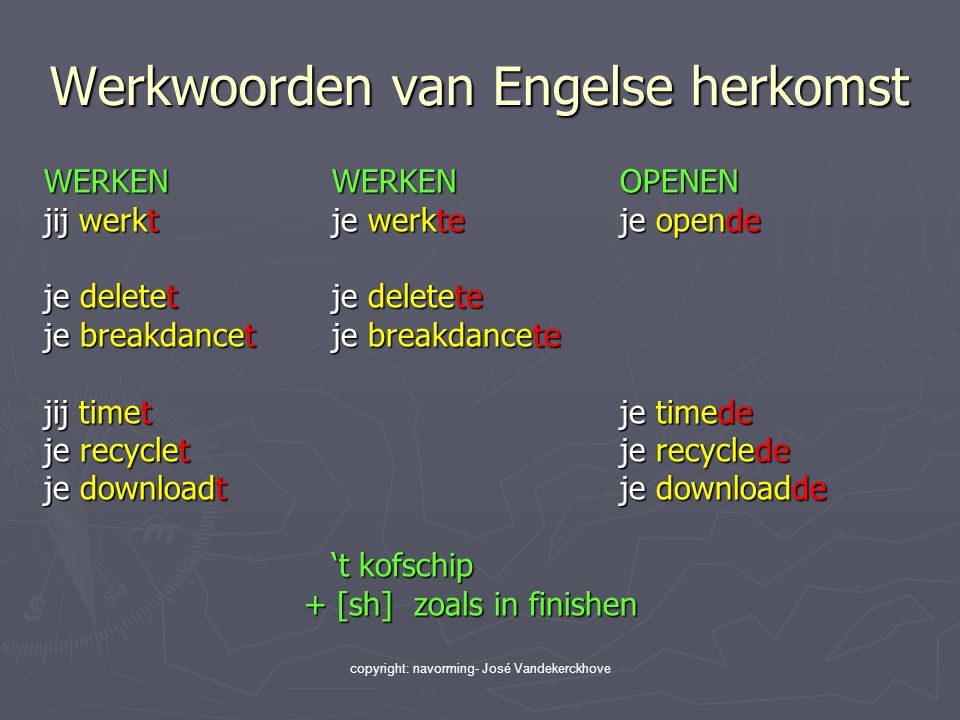 copyright: navorming- José Vandekerckhove Werkwoorden van Engelse herkomst WERKENWERKENOPENEN jij werktje werkteje opende je deletetje deletete je bre