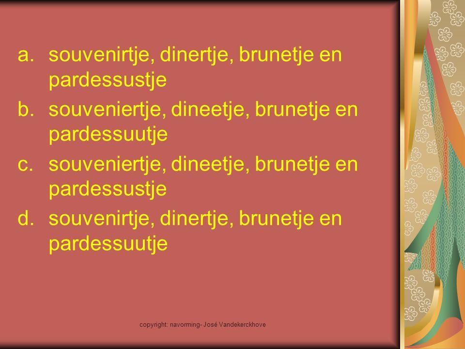 a.souvenirtje, dinertje, brunetje en pardessustje b.souveniertje, dineetje, brunetje en pardessuutje c.souveniertje, dineetje, brunetje en pardessustj