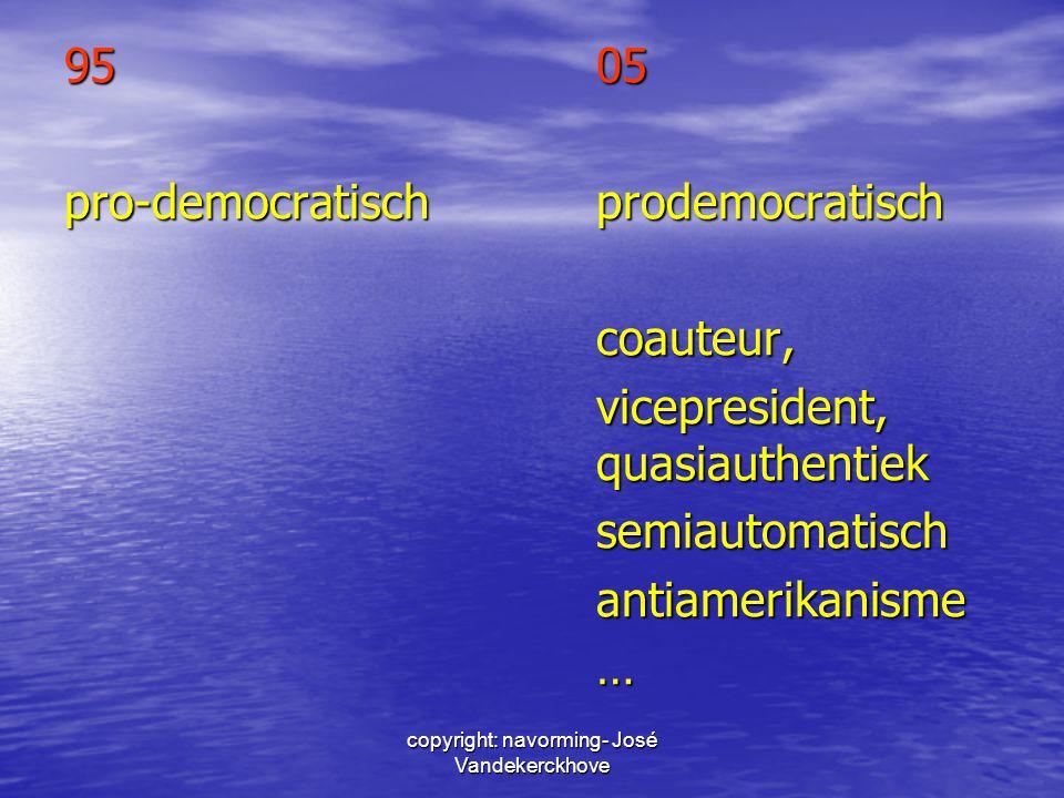 copyright: navorming- José Vandekerckhove 9505 pro-democratischprodemocratisch coauteur, vicepresident, quasiauthentiek semiautomatischantiamerikanism