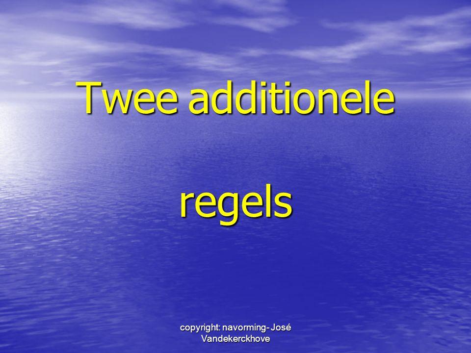 copyright: navorming- José Vandekerckhove Noot: afleidingen van afkortingen -> apostrof + achtervoegsel gsm'etje, vzw'tje, tv'loos, sms'je 95maar05 VTM'achtigVTM-achtig koppelteken voor -achtig, - dom, -heid en -schap -> voorvoegsel + liggend streepje ge-sms't ge-sms't geë-maild (95)ge-e-maild (05)