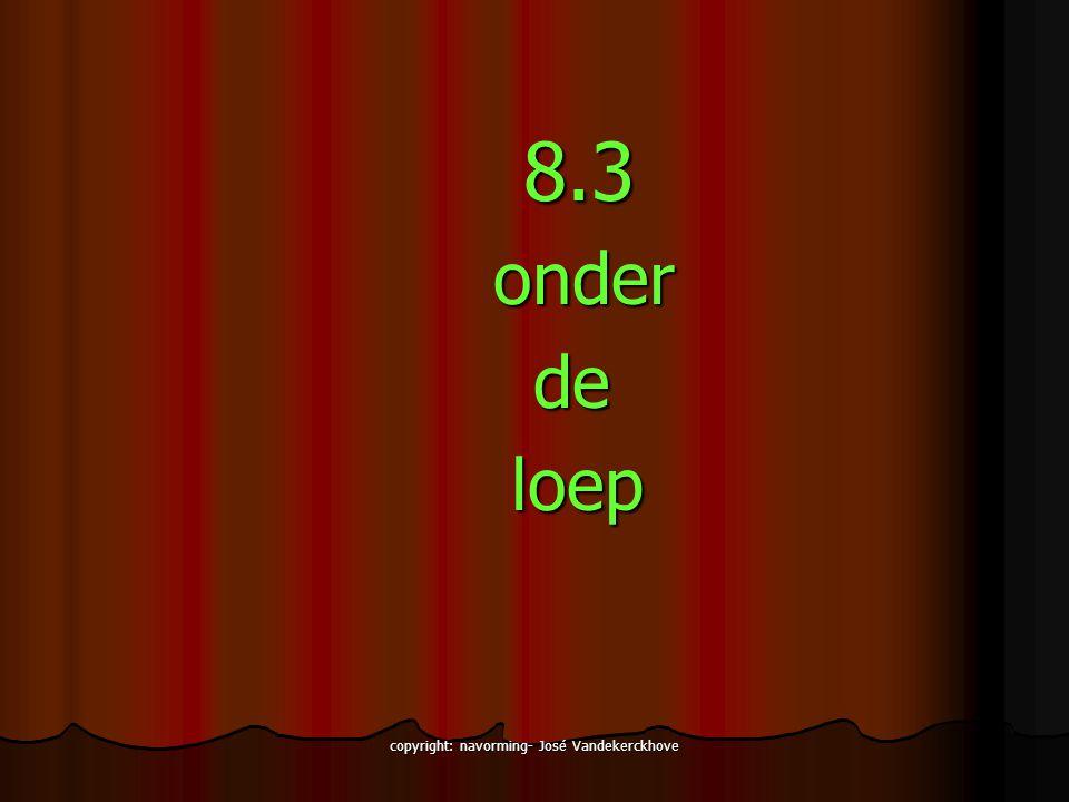 copyright: navorming- José Vandekerckhove 8.3 8.3onder de de loep loep