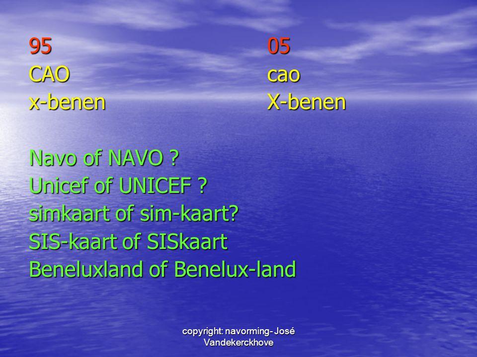 9505 CAOcao x-benenX-benen Navo of NAVO ? Unicef of UNICEF ? simkaart of sim-kaart? SIS-kaart of SISkaart Beneluxland of Benelux-land