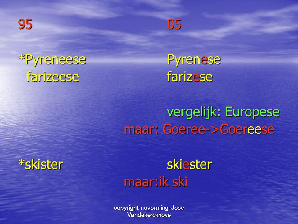 copyright: navorming- José Vandekerckhove 9505 *PyreneesePyrenese farizeesefarizese farizeesefarizese vergelijk: Europese maar: Goeree->Goereese maar: