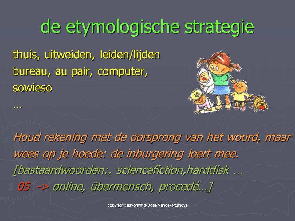 copyright: navorming- José Vandekerckhove de etymologische strategie thuis, uitweiden, leiden/lijden bureau, au pair, computer, sowieso… Houd rekening