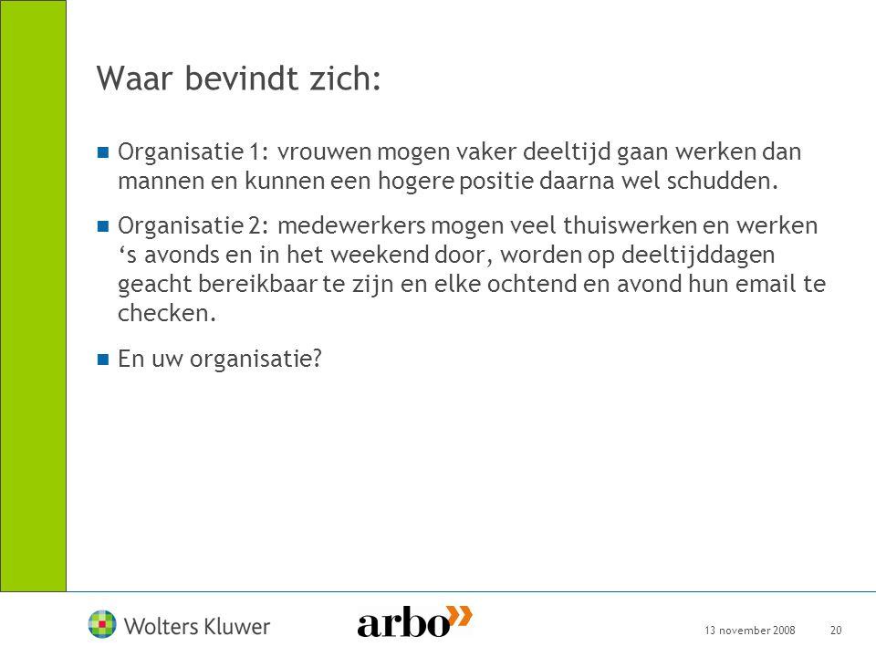13 november 200820 Waar bevindt zich: Organisatie 1: vrouwen mogen vaker deeltijd gaan werken dan mannen en kunnen een hogere positie daarna wel schud