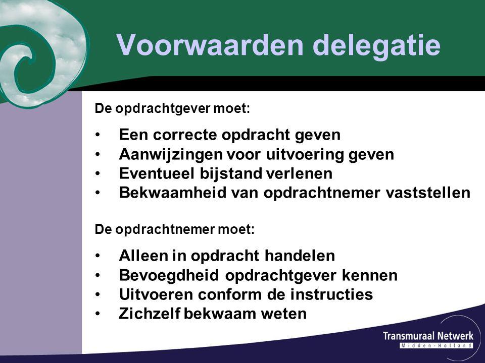 Voorwaarden delegatie De opdrachtgever moet: Een correcte opdracht geven Aanwijzingen voor uitvoering geven Eventueel bijstand verlenen Bekwaamheid va