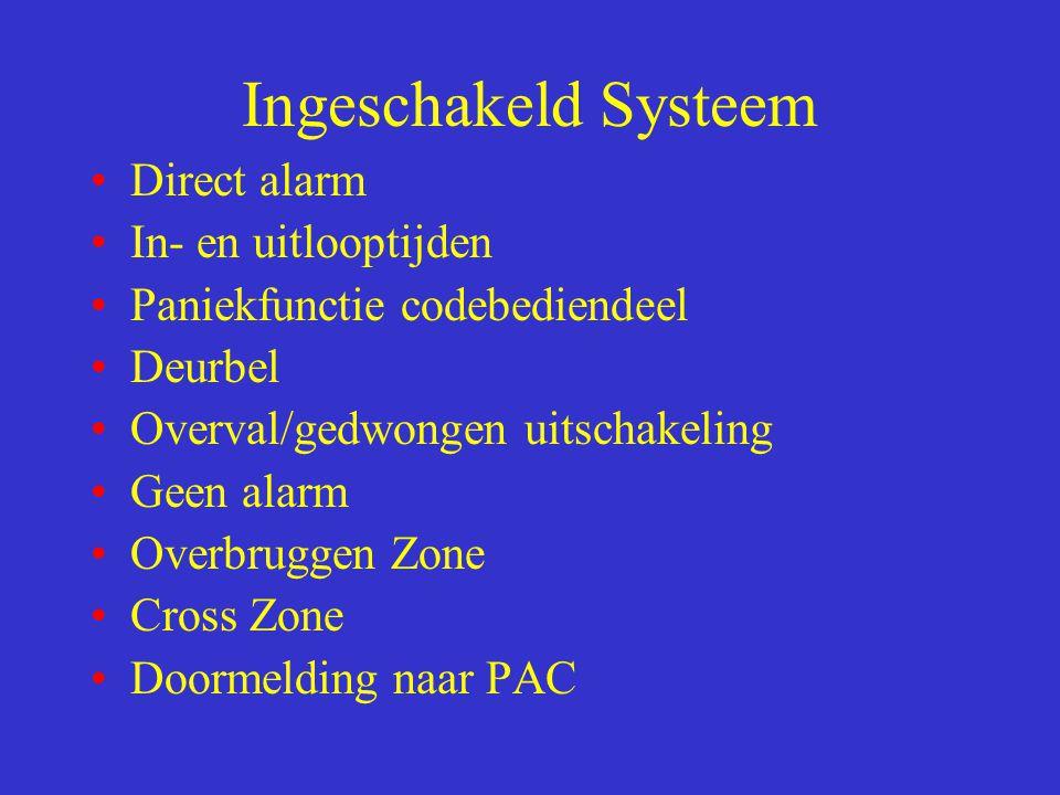 Ingeschakeld Systeem Direct alarm In- en uitlooptijden Paniekfunctie codebediendeel Deurbel Overval/gedwongen uitschakeling Geen alarm Overbruggen Zon