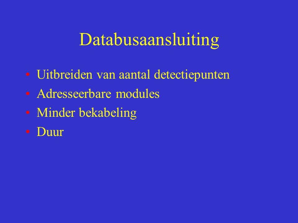 Databusaansluiting Uitbreiden van aantal detectiepunten Adresseerbare modules Minder bekabeling Duur