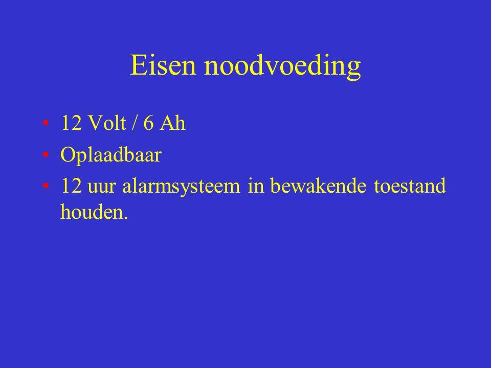 Eisen noodvoeding 12 Volt / 6 Ah Oplaadbaar 12 uur alarmsysteem in bewakende toestand houden.