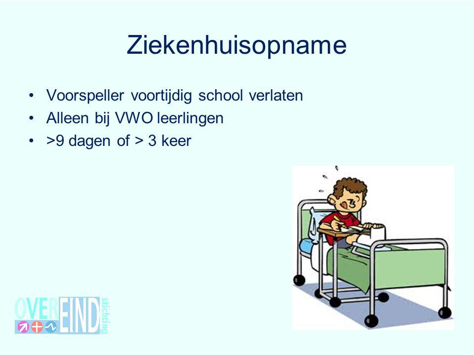 Ziekenhuisopname Voorspeller voortijdig school verlaten Alleen bij VWO leerlingen >9 dagen of > 3 keer