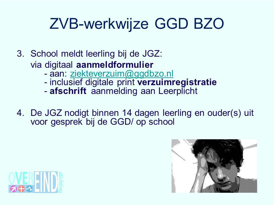 ZVB-werkwijze GGD BZO 3.School meldt leerling bij de JGZ: via digitaal aanmeldformulier - aan: ziekteverzuim@ggdbzo.nl - inclusief digitale print verz