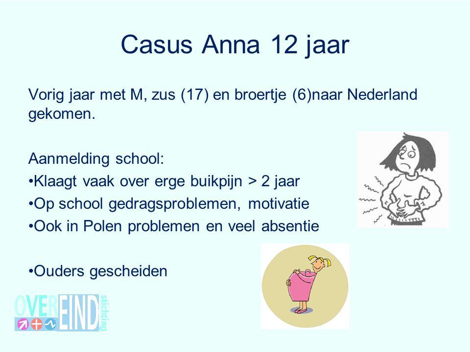 Casus Anna 12 jaar Vorig jaar met M, zus (17) en broertje (6)naar Nederland gekomen. Aanmelding school: Klaagt vaak over erge buikpijn > 2 jaar Op sch