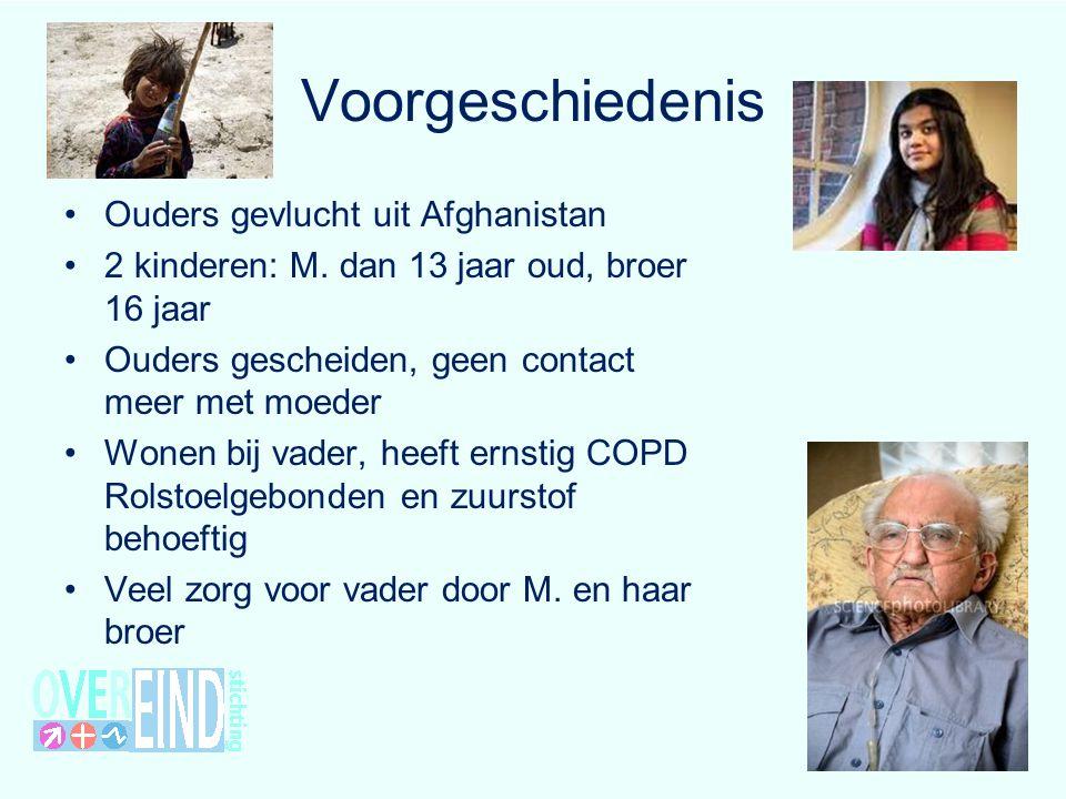 Voorgeschiedenis Ouders gevlucht uit Afghanistan 2 kinderen: M. dan 13 jaar oud, broer 16 jaar Ouders gescheiden, geen contact meer met moeder Wonen b