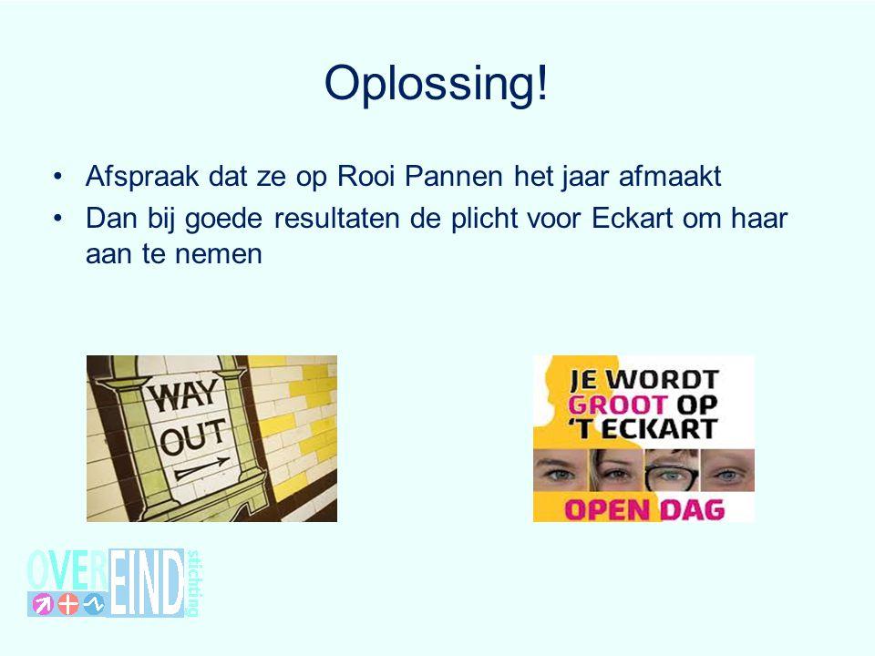 Oplossing! Afspraak dat ze op Rooi Pannen het jaar afmaakt Dan bij goede resultaten de plicht voor Eckart om haar aan te nemen