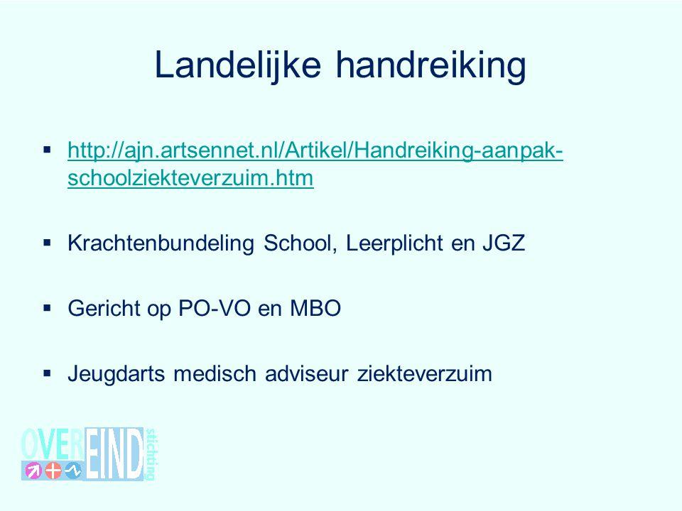 Landelijke handreiking  http://ajn.artsennet.nl/Artikel/Handreiking-aanpak- schoolziekteverzuim.htm http://ajn.artsennet.nl/Artikel/Handreiking-aanpa
