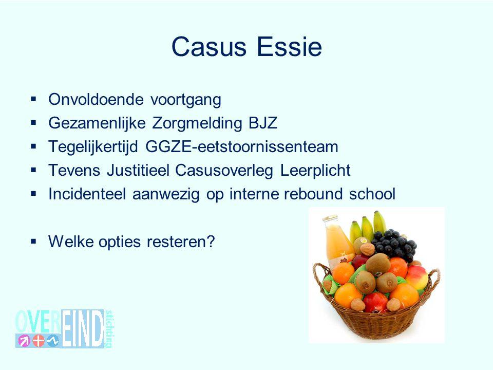 Casus Essie  Onvoldoende voortgang  Gezamenlijke Zorgmelding BJZ  Tegelijkertijd GGZE-eetstoornissenteam  Tevens Justitieel Casusoverleg Leerplich