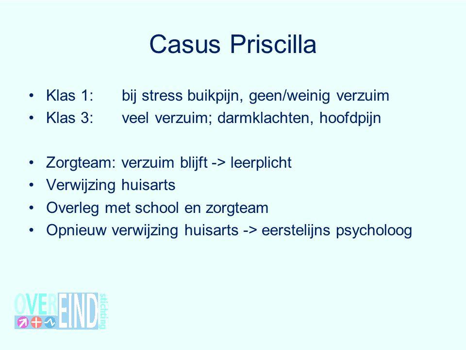 Casus Priscilla Klas 1:bij stress buikpijn, geen/weinig verzuim Klas 3:veel verzuim; darmklachten, hoofdpijn Zorgteam: verzuim blijft -> leerplicht Ve