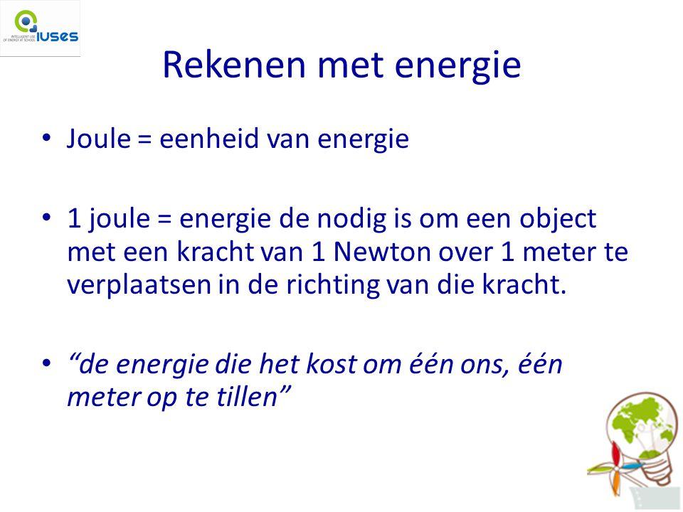 Rekenen met energie Joule = eenheid van energie 1 joule = energie de nodig is om een object met een kracht van 1 Newton over 1 meter te verplaatsen in de richting van die kracht.