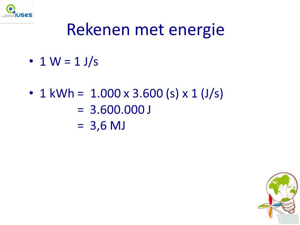 Rekenen met energie 1 W = 1 J/s 1 kWh = 1.000 x 3.600 (s) x 1 (J/s) = 3.600.000 J = 3,6 MJ
