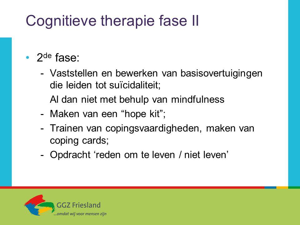 Cognitieve therapie fase II 2 de fase: -Vaststellen en bewerken van basisovertuigingen die leiden tot suïcidaliteit; Al dan niet met behulp van mindfu