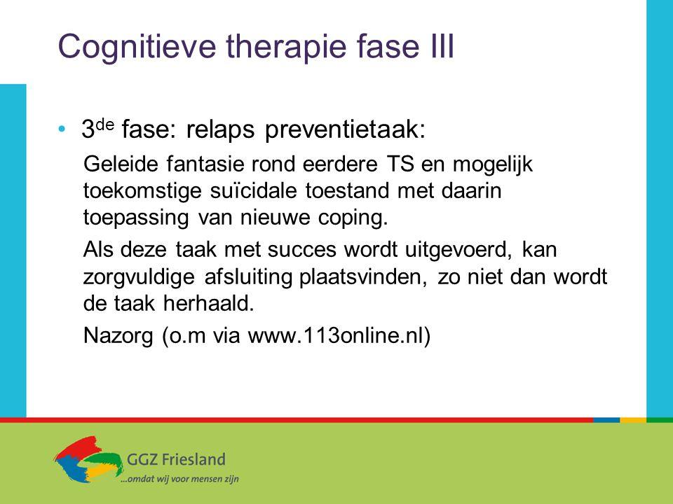 Cognitieve therapie fase III 3 de fase: relaps preventietaak: Geleide fantasie rond eerdere TS en mogelijk toekomstige suïcidale toestand met daarin t