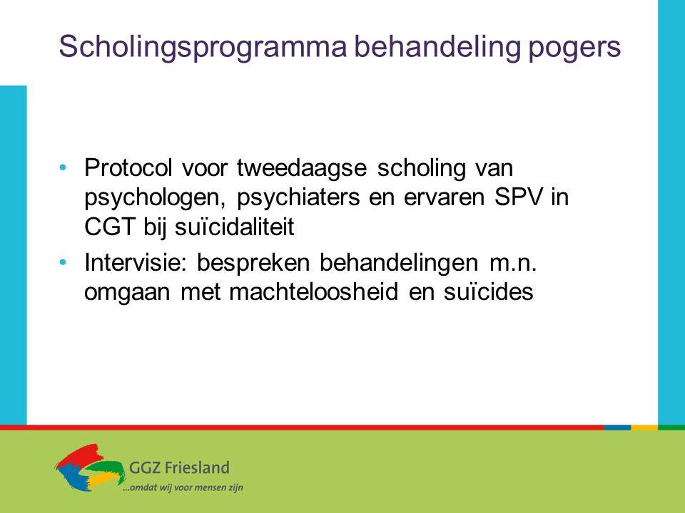 Scholingsprogramma behandeling pogers Protocol voor tweedaagse scholing van psychologen, psychiaters en ervaren SPV in CGT bij suïcidaliteit Intervisi