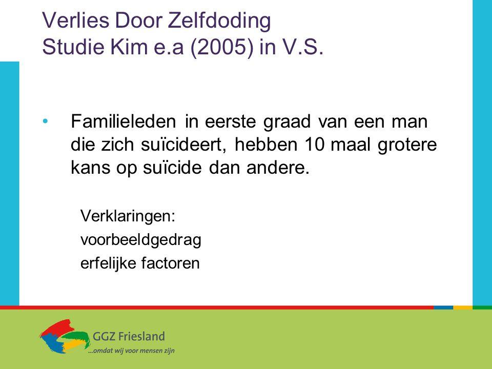 Verlies Door Zelfdoding Studie Kim e.a (2005) in V.S. Familieleden in eerste graad van een man die zich suïcideert, hebben 10 maal grotere kans op suï