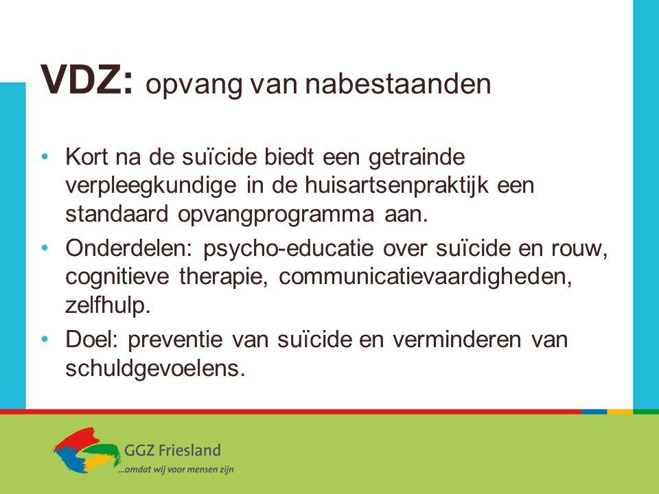 VDZ: opvang van nabestaanden Kort na de suïcide biedt een getrainde verpleegkundige in de huisartsenpraktijk een standaard opvangprogramma aan. Onderd