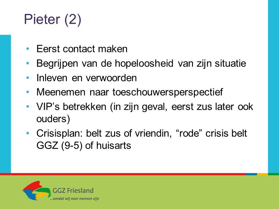 Pieter (2) Eerst contact maken Begrijpen van de hopeloosheid van zijn situatie Inleven en verwoorden Meenemen naar toeschouwersperspectief VIP's betre