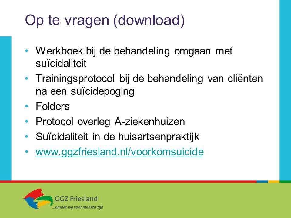 Op te vragen (download) Werkboek bij de behandeling omgaan met suïcidaliteit Trainingsprotocol bij de behandeling van cliënten na een suïcidepoging Fo
