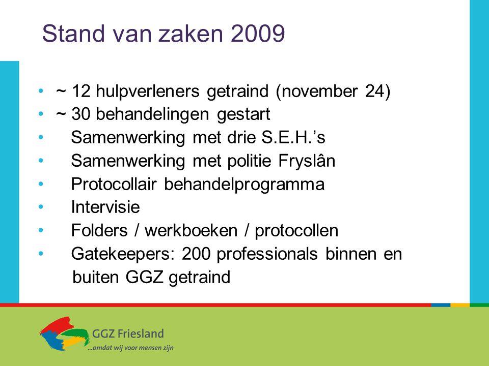 Stand van zaken 2009 ~ 12 hulpverleners getraind (november 24) ~ 30 behandelingen gestart Samenwerking met drie S.E.H.'s Samenwerking met politie Frys