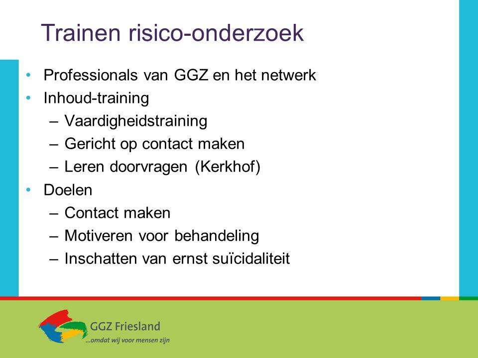 Trainen risico-onderzoek Professionals van GGZ en het netwerk Inhoud-training –Vaardigheidstraining –Gericht op contact maken –Leren doorvragen (Kerkh