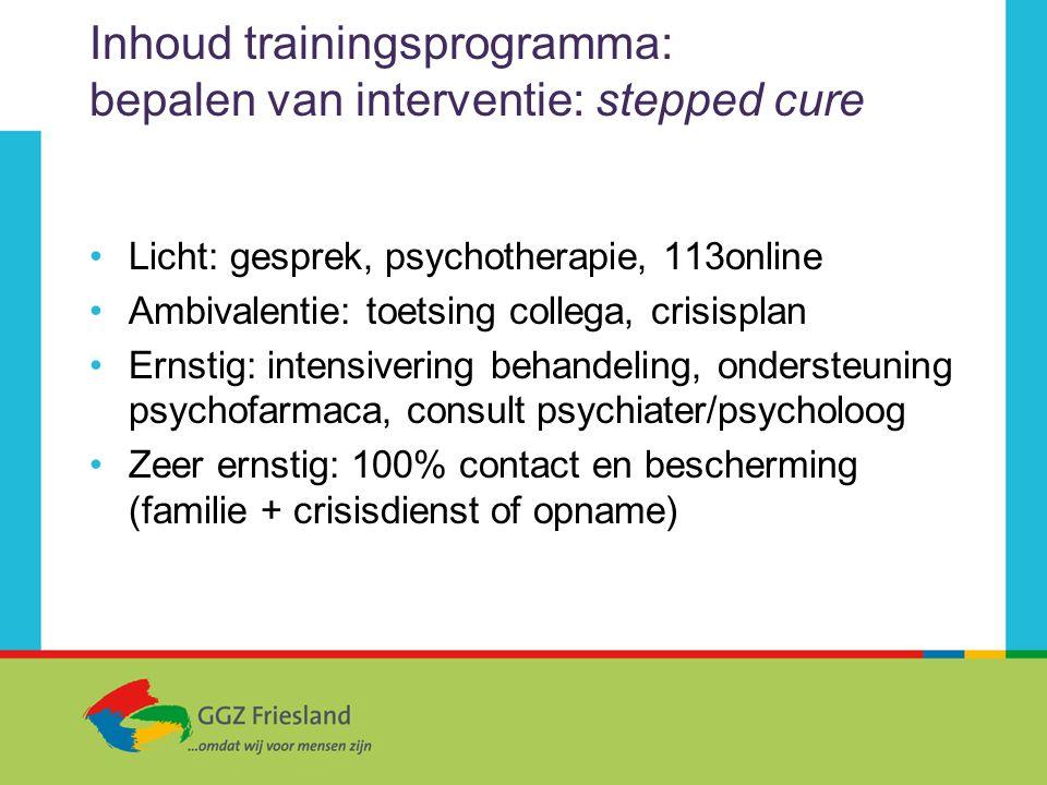 Inhoud trainingsprogramma: bepalen van interventie: stepped cure Licht: gesprek, psychotherapie, 113online Ambivalentie: toetsing collega, crisisplan