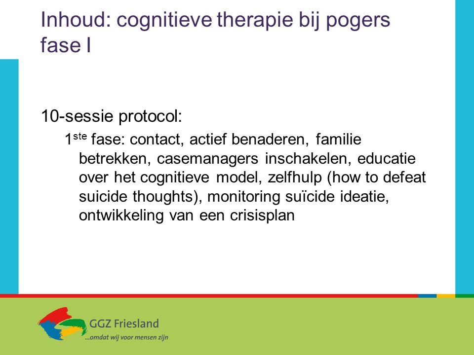 Inhoud: cognitieve therapie bij pogers fase I 10-sessie protocol: 1 ste fase: contact, actief benaderen, familie betrekken, casemanagers inschakelen,