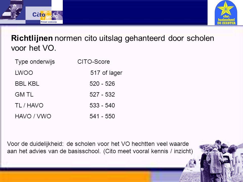 Informatie avond – CITO 11-01-06 Type onderwijs CITO-Score LWOO 517 of lager BBL KBL 520 - 526 GM TL 527 - 532 TL / HAVO 533 - 540 HAVO / VWO 541 - 55