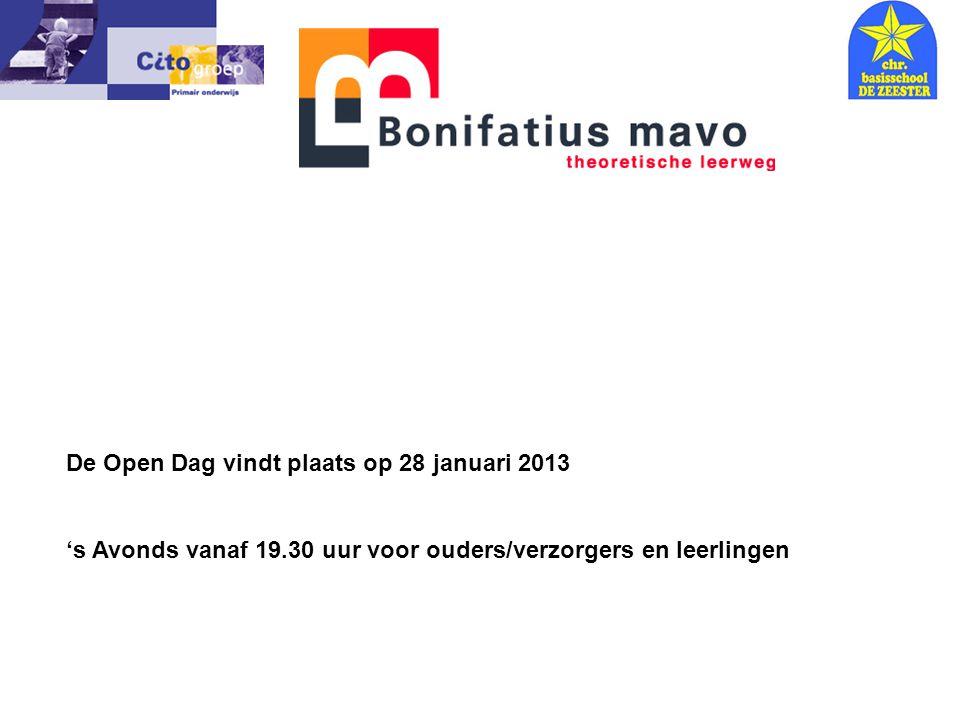 Informatie avond – CITO 18-01-06 De Open Dag vindt plaats op 28 januari 2013 's Avonds vanaf 19.30 uur voor ouders/verzorgers en leerlingen