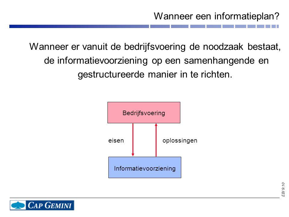 EBI 9.10 Wanneer een informatieplan? Wanneer er vanuit de bedrijfsvoering de noodzaak bestaat, de informatievoorziening op een samenhangende en gestru