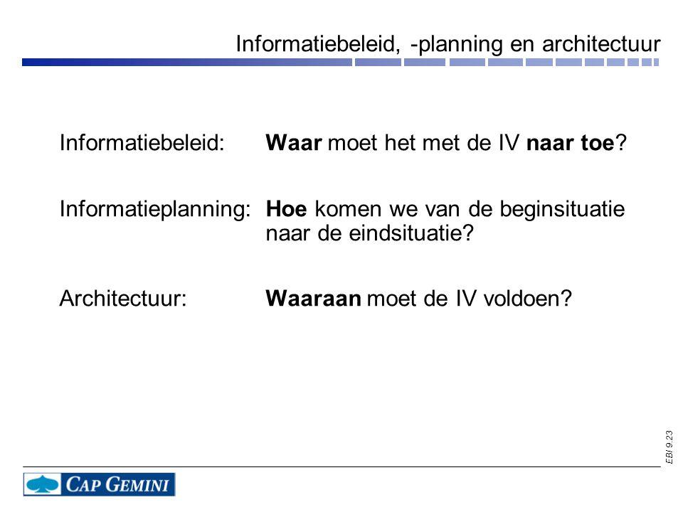 EBI 9.23 Informatiebeleid, -planning en architectuur Informatiebeleid:Waar moet het met de IV naar toe? Informatieplanning:Hoe komen we van de beginsi