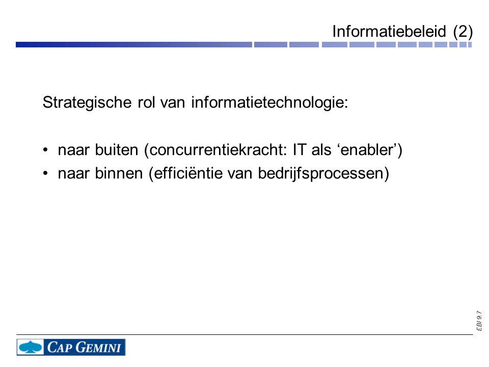 EBI 9.7 Informatiebeleid (2) Strategische rol van informatietechnologie: naar buiten (concurrentiekracht: IT als 'enabler') naar binnen (efficiëntie van bedrijfsprocessen)