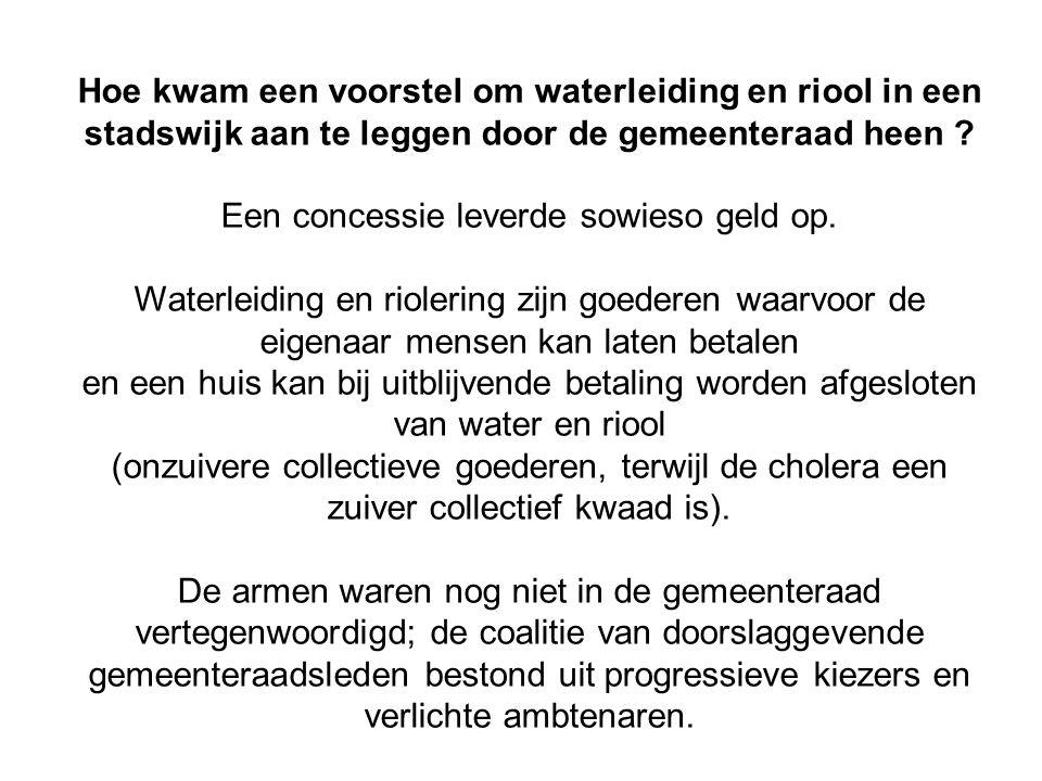 Hoe kwam een voorstel om waterleiding en riool in een stadswijk aan te leggen door de gemeenteraad heen ? Een concessie leverde sowieso geld op. Water