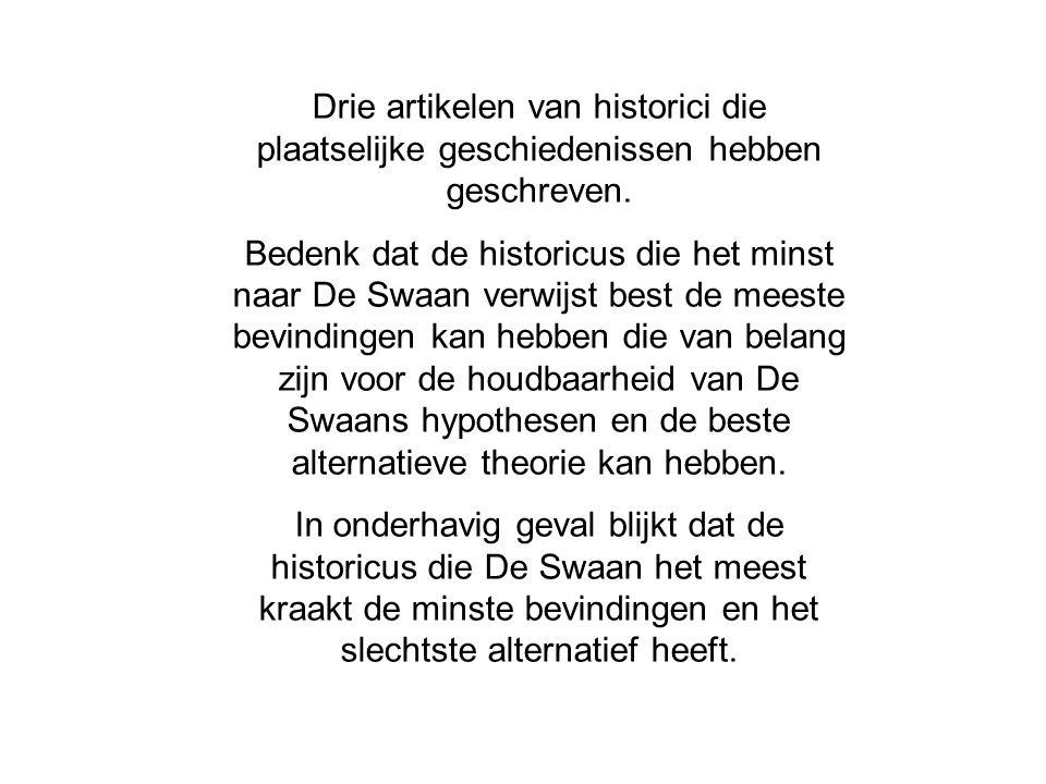 Drie artikelen van historici die plaatselijke geschiedenissen hebben geschreven. Bedenk dat de historicus die het minst naar De Swaan verwijst best de